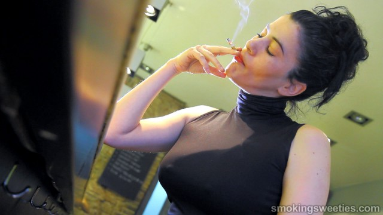 Angela: Chain smoking in a bar