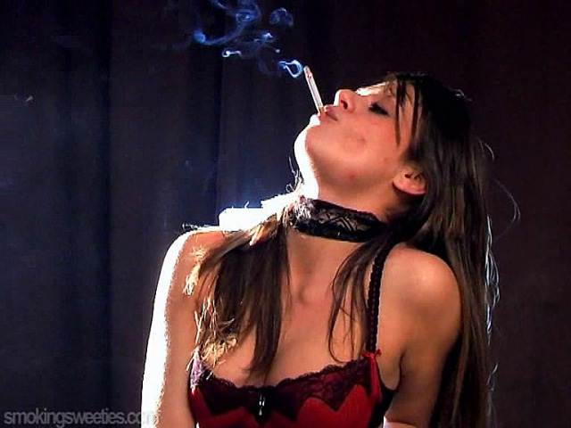 Carole: Smoking in red and black Lingerie