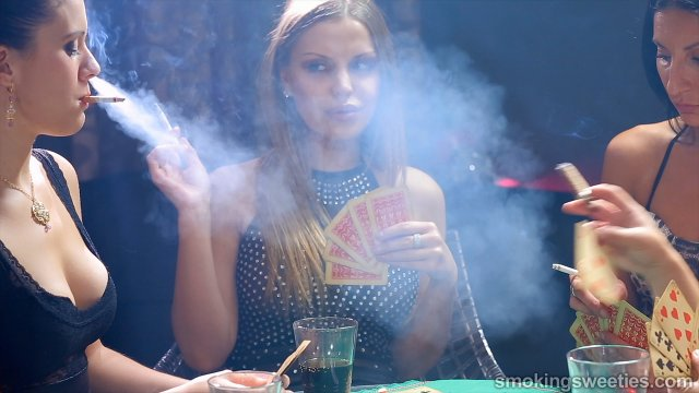 4 Heavy Smoking Girls Playing Cards