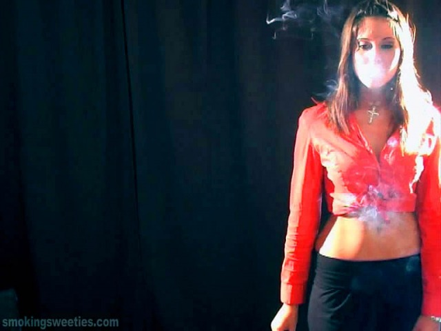 Evelyn: waitress waiting and smoking.
