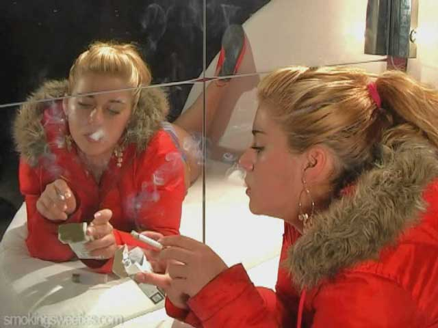 Luisa - smoking girl in red