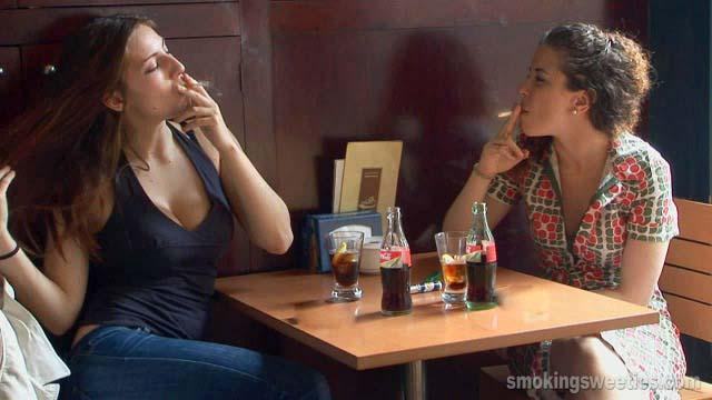 Girls smoking during job break
