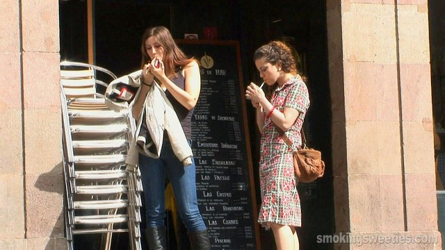 Girls smoking during job break