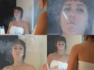 Ingeborg: Dangling and smoking in the bathroom
