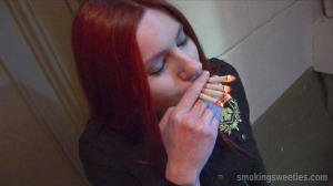 Sattya - She smokes 4 cigarettes at once