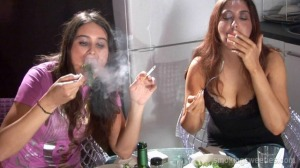Ajda and Masha: Eating and smoking